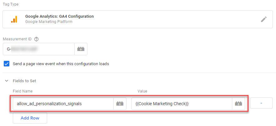 Dynamically disable Advertising Personalization GA4